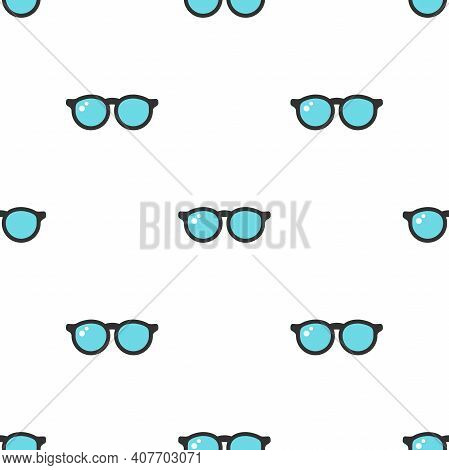 Seamless Pattern With Blue Hipster Glasses On White Background. Optic Wallpaper. Child Round Eyeglas