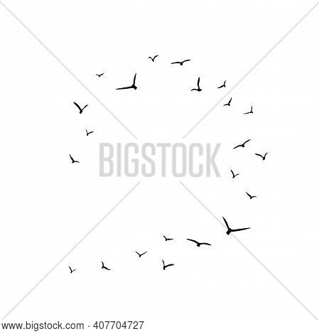 Frame With Flying Birds. Black Swallows In Circle. Bird Trace. Freedom, Romantic, Dreams, Lyric. Tex