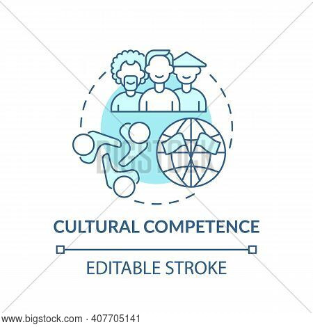Cultural Competence Concept Icon. Language Learning Competence Idea Thin Line Illustration. Multicul
