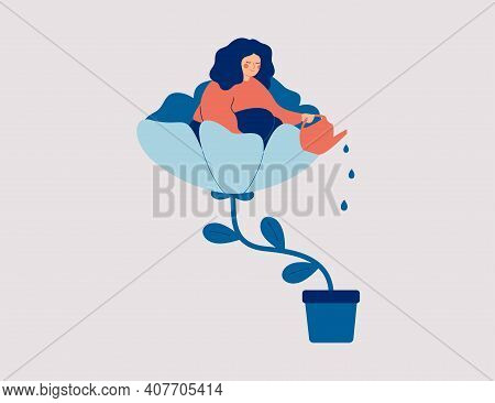 A Happy Woman Sits In The Flower And Waters It. Smiling Girl Cares About Herself And Her Future. Con