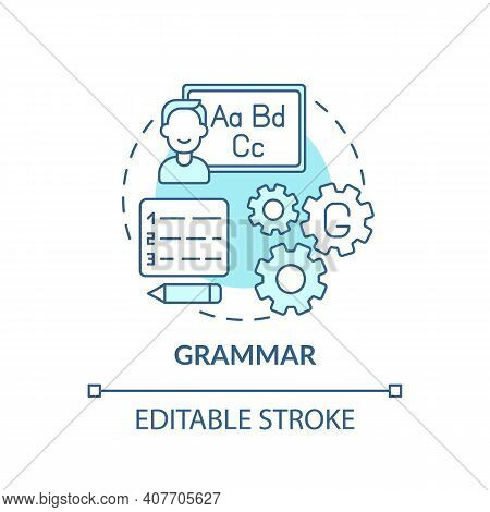 Grammar Concept Icon. Language Learning Category Idea Thin Line Illustration. Phrases And Sentences