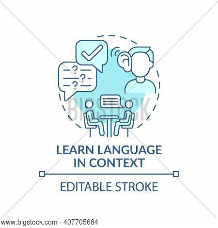 Learning Language In Context Concept Icon. Linguistic Context Idea Thin Line Illustration. Avoiding