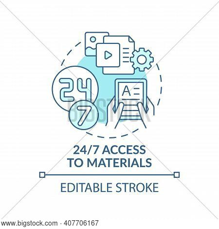 24 To 7 Access To Materials Concept Icon. Online Language Courses Idea Thin Line Illustration. Digit