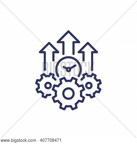 Efficiency Growth Line Icon On White, Vector