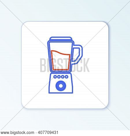 Line Blender Icon Isolated On White Background. Kitchen Electric Stationary Blender With Bowl. Cooki