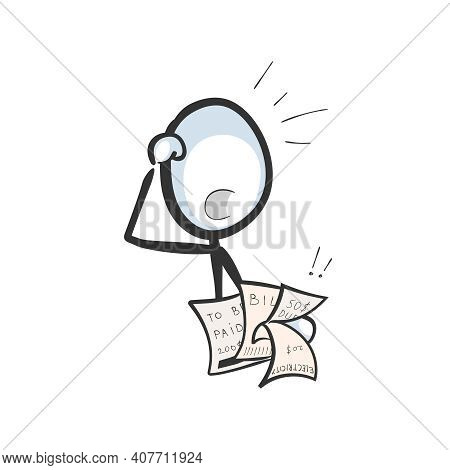 Bills To Pay. Vector Simple Choked Man In Debt With Pay Check. Stickman No Face Clipart Cartoon. Han