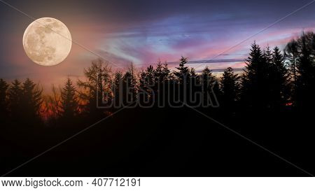 Picturesque Landscape - Multi Colored Sky With Moon Over Dark Forest.