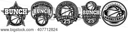 Set Of Monochrome Templates On The Theme Of Basketball. Vector Editable Illustration. Elements For B