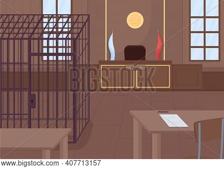 Courthouse Flat Color Vector Illustration. Place Where Verdict For Criminals Is Choosed. Big Cage Fo