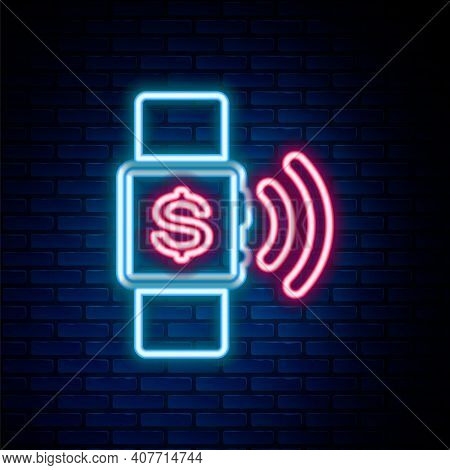 Glowing Neon Line Contactless Payment Icon Isolated On Brick Wall Background. Smartwatch With Nfc Te