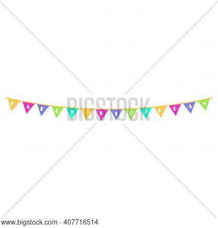 Triangle Flag Garland Bunting With Happy Birthday Text. Eps10 Vector Illustration.
