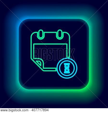 Glowing Neon Line Calendar And Clock Icon Isolated On Black Background. Schedule, Appointment, Organ