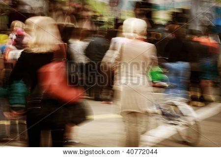 Walking People In Motion Blur