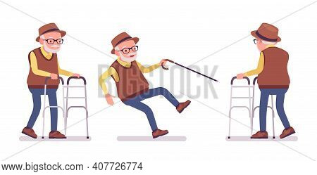 Old Man, Elderly Person With Medical Walker, Cane Slippery. Senior Citizen, Retired Grandfather In G