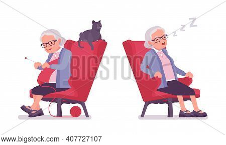 Old Woman, Elderly Person Resting In Armchair, Sleeping, Reading Book. Senior Citizen, Retired Grand