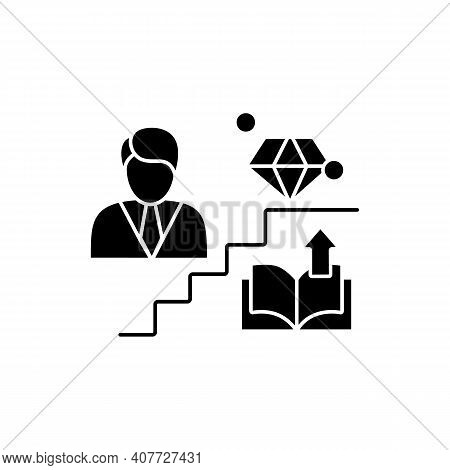Personal Growth Glyph Icon. Route To Success. Self Improvement And Self Realization. Career Developm