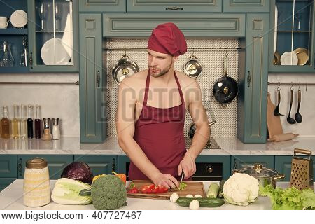 Vegetarian Taste Better. Cooking Flavors Of Nature. Bearded Man Enjoy Cooking Natural Food. Sexy Att