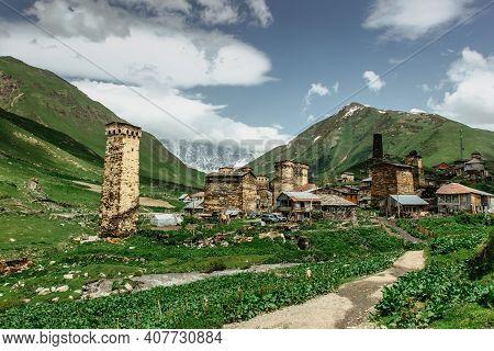 Rural Stone Tower Houses In Ushguli,georgia. Unesco Site. Exploring The Greater Caucasus Mountains.p