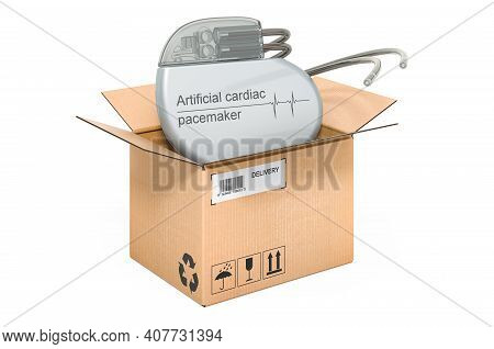 Artificial Cardiac Pacemaker Inside Cardboard Box, Delivery Concept. 3d Rendering Isolated On White