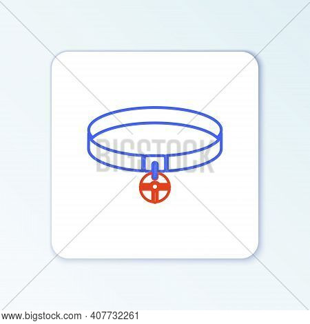 Line Collar With Name Tag Icon Isolated On White Background. Simple Supplies For Domestic Animal. Ca