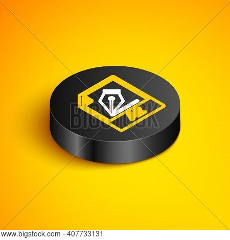 Isometric Line Ai File Document. Download Ai Button Icon Isolated On Yellow Background. Ai File Symb