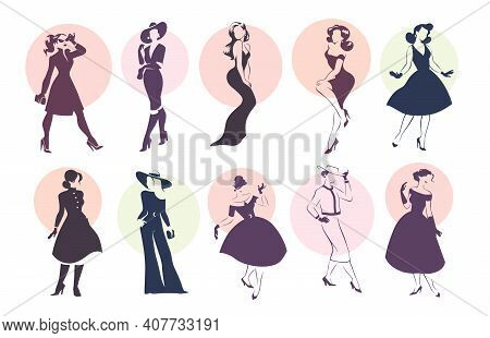 Collection Of Black Women Full Length Portraits Silhouettes In Different Poses Isolated On White Bac