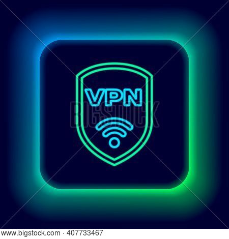 Glowing Neon Line Shield With Vpn And Wifi Wireless Internet Network Symbol Icon Isolated On Black B