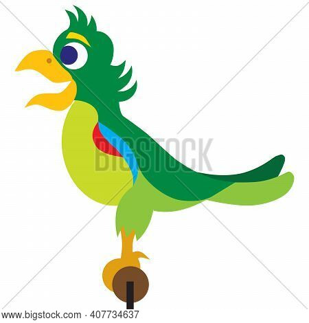A Colorful Flat Vector Parrot On A Perch Is Happy