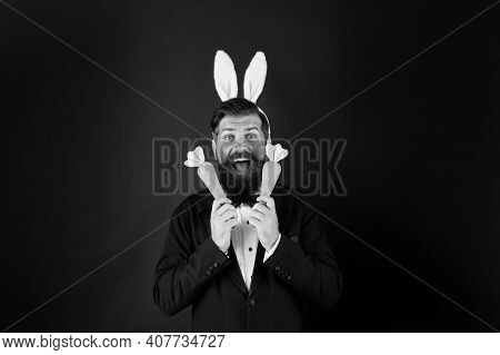 Carrots For Easter. Happy Boss Celebrate Easter. Bearded Bunny Hold Carrots. Enjoying Celebration. H
