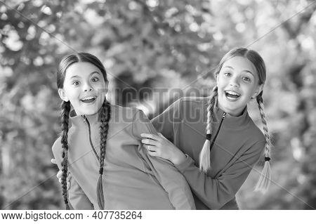 Joys Of Childhood. Childhood Friends Natural Outdoors. Happy Children Enjoy Summer Holidays. Childho