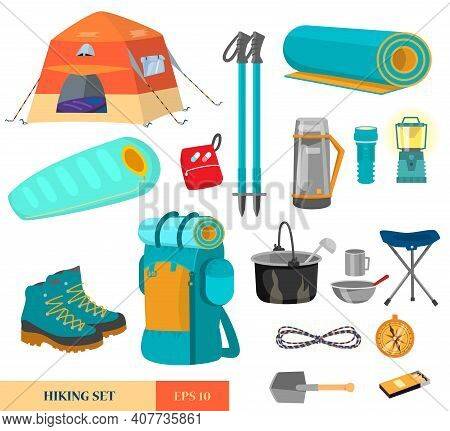 Vector Set Of Hiking Equipment In Flat Catroon Style. Camping Elements. Tent,  Backpack, Rope, Boots