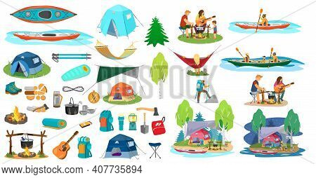 Big Vector Set Of Hiking Equipment And People In A Hike  In Flat Catroon Style. Camping Elements. Fa