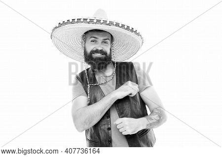Mexican Party Concept. Celebrate Traditional Mexican Holiday. Guy Happy Cheerful Festive Outfit Read