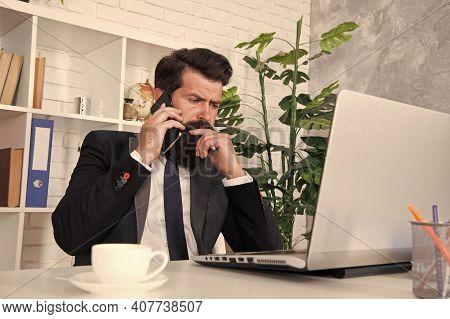 Arrange Supply Materials And Goods. Businessman Phone Conversation. Mobile Call Negotiations. Logist