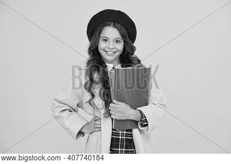 Diligent Student. Retro Girl Wear Uniform And Parisian Beret. Kid School Fashion. Cheerful Child Rea