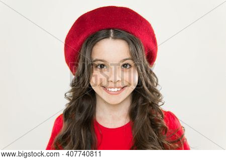 Perfect Curls. Kid Cute Face With Adorable Curly Hairstyle Wear Beret Hat. Little Fashionista. Littl