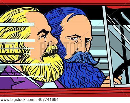 Berlin, Germany - January 31, 2021. Karl Marx And Friedrich Engels In The Car. Cartoon Comic Book Po