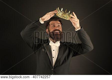 Responsibility Being King. Handsome Bearded Smiling Guy King. King Crown. Egoist Selfish Man. Impost