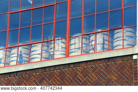 Memphis Distillery Is Located In An Old Historic Building.  Barrels Can Be Seen Through Windows Sitt