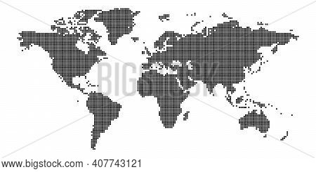 World Map Of Squares. Simple Flat Vector Illustration.