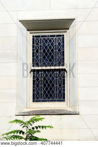 Glass Window On Stone Church