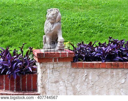 Lion Statue Stands On Guard