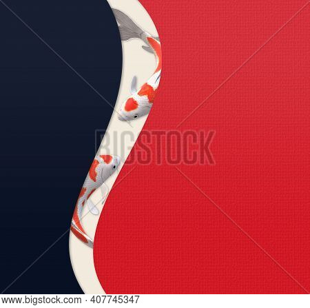 Koi Carp Fish, Oriental Style Template. Chinese Style Background With Koi Carp Fishes On Red Blue Cu