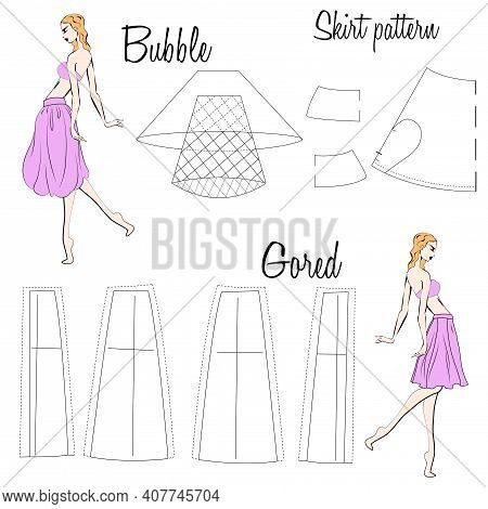 Skirt Bubble And Gored Patterns. A Visual Representation Of Styles Of The Skirts On The Figure. Illu