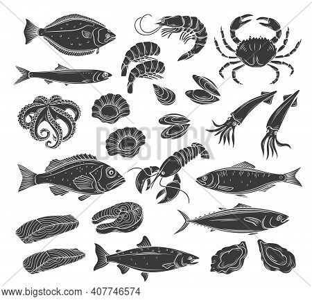 Seafood Glyph Icon Set. Monochrome Herring Squid, Octopus, Salmon, Halibut Oysters And Scallops. Eng