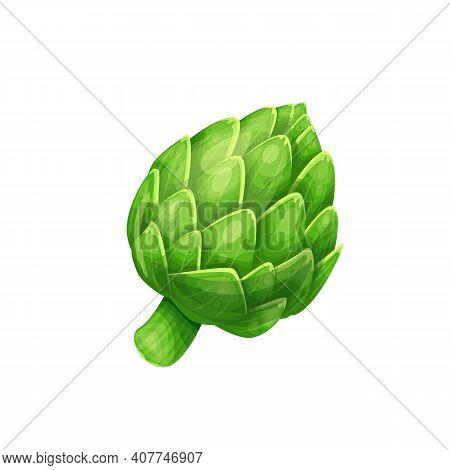 Artichoke Green Flower Heads Vector Illustration. Food Artichoke In Cartoon Style Close-up.