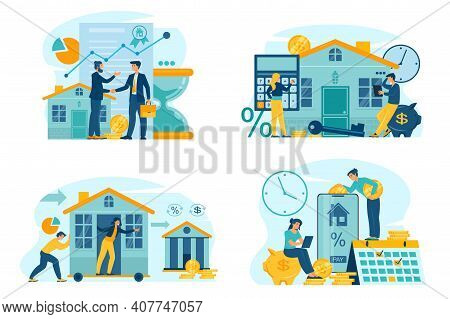Mortgage Payment Online, Mortgage Refinance, Property Investment Concept. Sale, Purchase, Rent, Prop