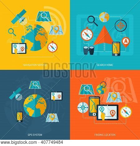 Navigation Flat Icons Set With Service Search Home Gps System Finding Location Isolated Vector Illus