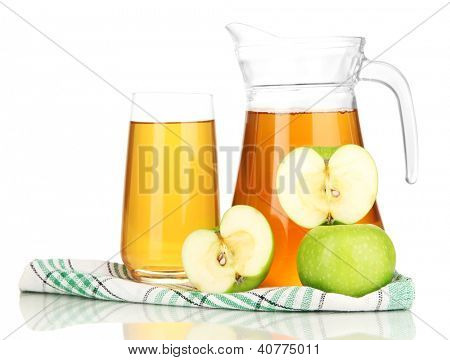 poster of Full glass and jug of apple juice and apples isolted on white