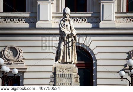 Bucharest, Romania - February 04, 2021: The Spatharios Mihai Cantacuzino Statue, Carrara Marble, Fir